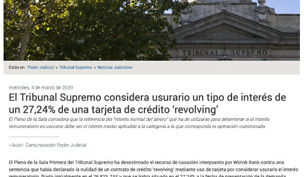 sentencia usura tarjeta Wizink Tribunal Supremo